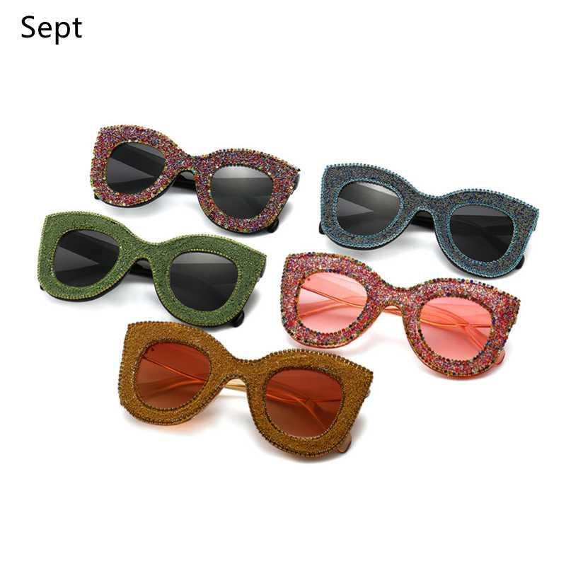 Sunglasses 2021 Eyewear Oversized Cat Eye Women Diamond Rhinestone Glitter Men UV400