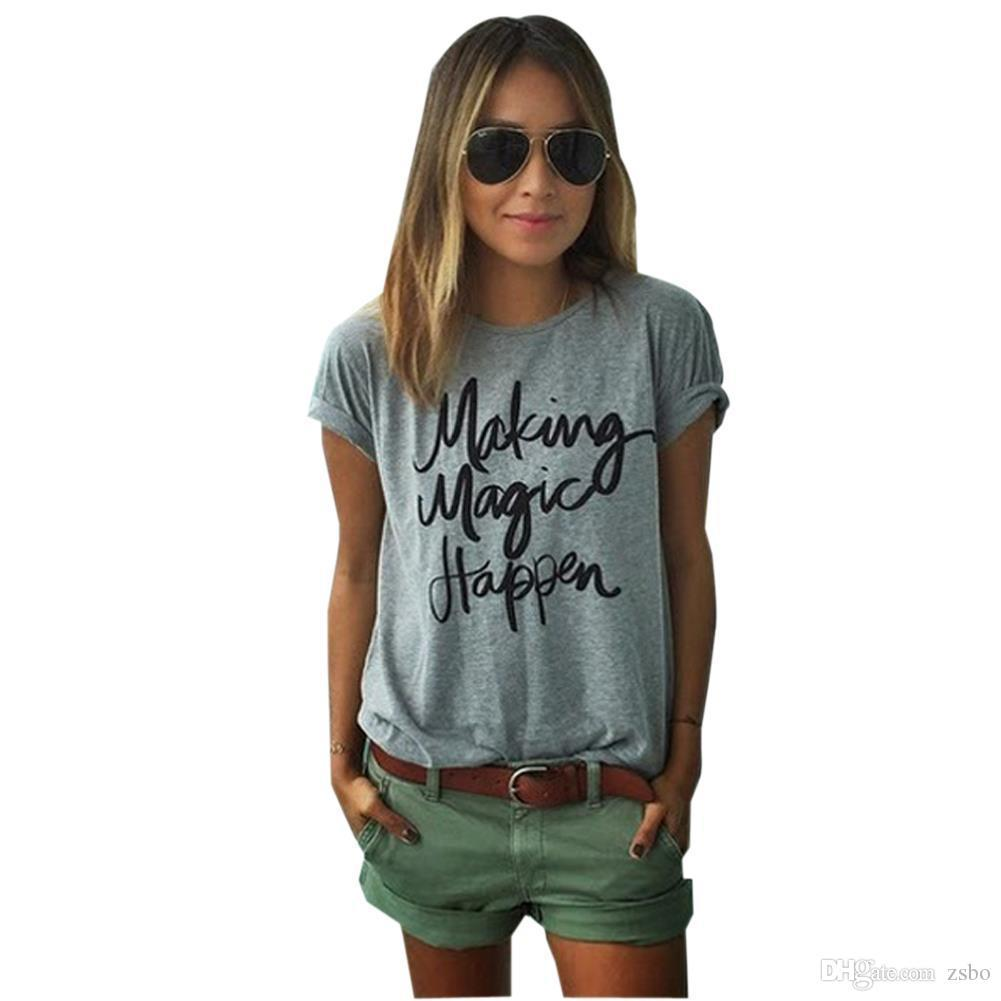 women's t-shirt Summer ZSIIBO New make magic happen print T-shirts for women tee shirt femme camisetas poleras female t shirts NV19-F
