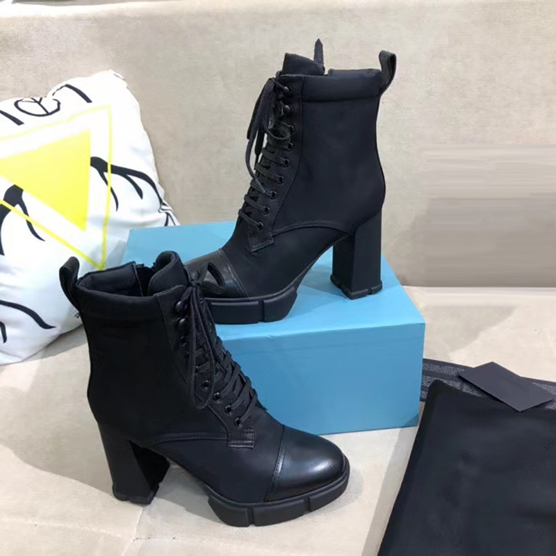 Women Designer Luxury Plaque boots 9.5cm high heels Ankle Boot Women Black 100% Genuine Leather Combat Boots Winter Boot With Box