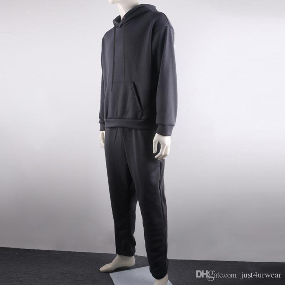 Mens Fashion Tracksuits Solid Long Sleeve Hoody Loose Swearpants Casual Sportsuit Male Newest Suits