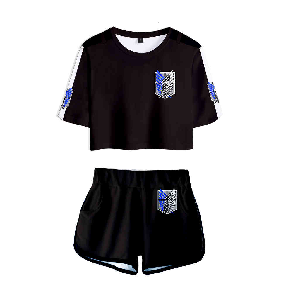 Cosplay Anime Attack on Titan women set t shirt skirt shorts bedding casual attack Colossal titan Costume Tshirt top XS-2XL