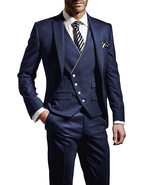 Gentlemen Navy Blue tuxedos Herringbone wedding suits for men British style custom made Mens suit slim fit BlazerJacket+Pant+Vest