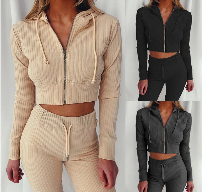 2020 Women Clothes Two Piece Sets set womens sweat suits Plus Size Jogging Sport Suit Soft Long Sleeve Tracksuit Sportswear M-2XL