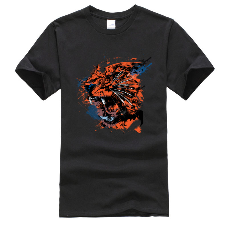 New Coming Faded_Tiger._3329 Camisa Short Sleeve T Shirt ostern Day Crew Neck 100% Cotton Tops Tees for Men T Shirt Classic Faded_Tiger._3329 black
