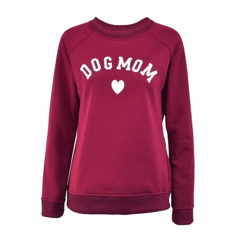 Dog Mom Women's Plus Velvet Fashionable Long Sleeve Casual Sweatshirt Printing Heart-shaped Print Kawaii Sweatshirt Clothing 210419