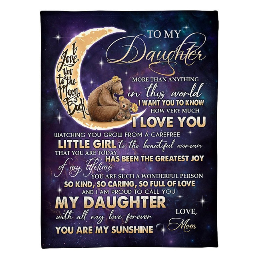 Blanket BlanketReversible to My Daughter/son Letter Warm Winter Bedspread Sofa Blanket on Bed Home Textiles Gift J6K4730