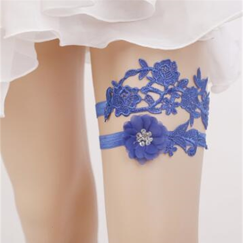 Set Blue Lace Bridal Leg Garters Prom Garter Bridal Wedding Garter Belt Faux Pearls Free Size 16-23 inches