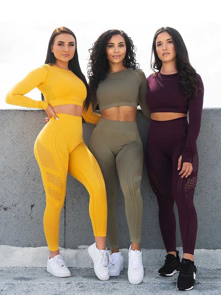 2 pieces gym set workout clothes for women flawless knit long sleeve compression crop top + seamless leggings yoga 2 piece set (4)