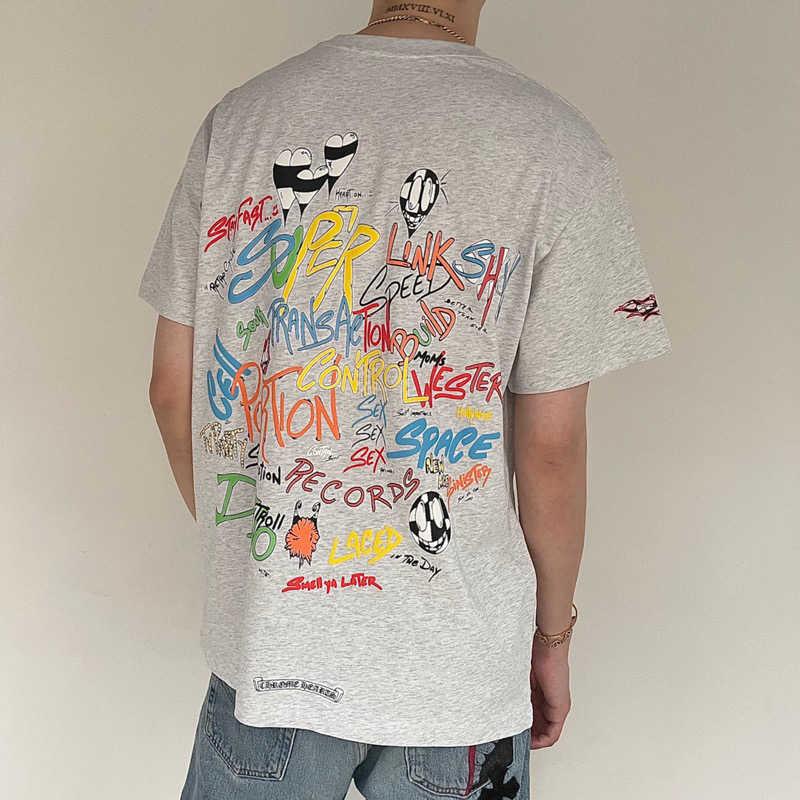 chcro Matty boy Limited new cartoon graffiti T-shirt loose back print short sleeve floral grey