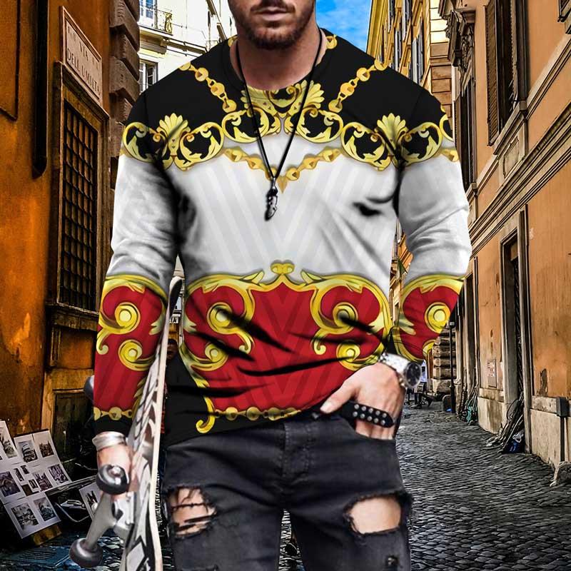 22 Styles Flowers Pattern Sweatshirt Mens Fashion Gold Chain Printing Long Sleeves Casual Boy Hiphop Streetwear Tops Sweatshirts Wholesale