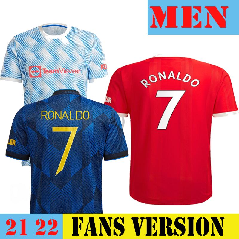 RONALDO SANCHO 2021 2022 Man Soccer Jersey FERNANDES POGBA League Football Shirt Third Away Fan Player Version Long Sleeve Utd Men's Top & Kids Kit Set UNITED RASHFORD