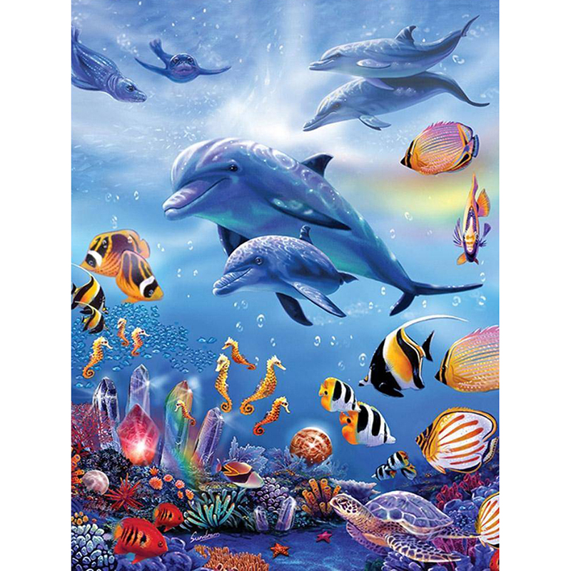 Animal Dolphins With Fishes 5D Diy Diamond Painting Full Square diamond Mosaic drill icons Daimond Embroidery Rhinestones Paint