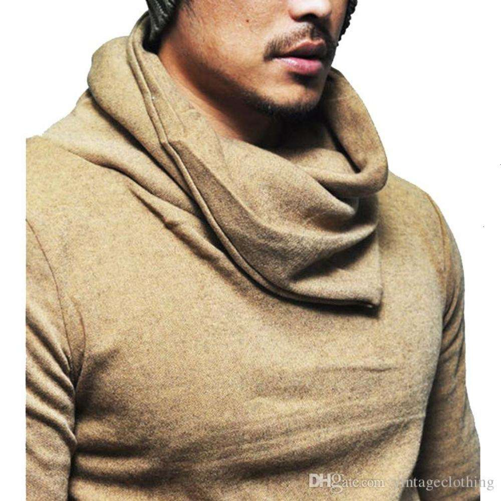 Men Longline T Shirt Designer Heaps Collar Long Sleeve Hip Hop Solid T Shirts Men's Irregular Tops tee1
