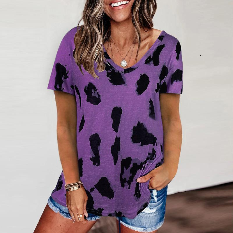 Womens T Shirt leopard print round neck short sleeve loose T-shirt Casual Fashion Style Famale Tee