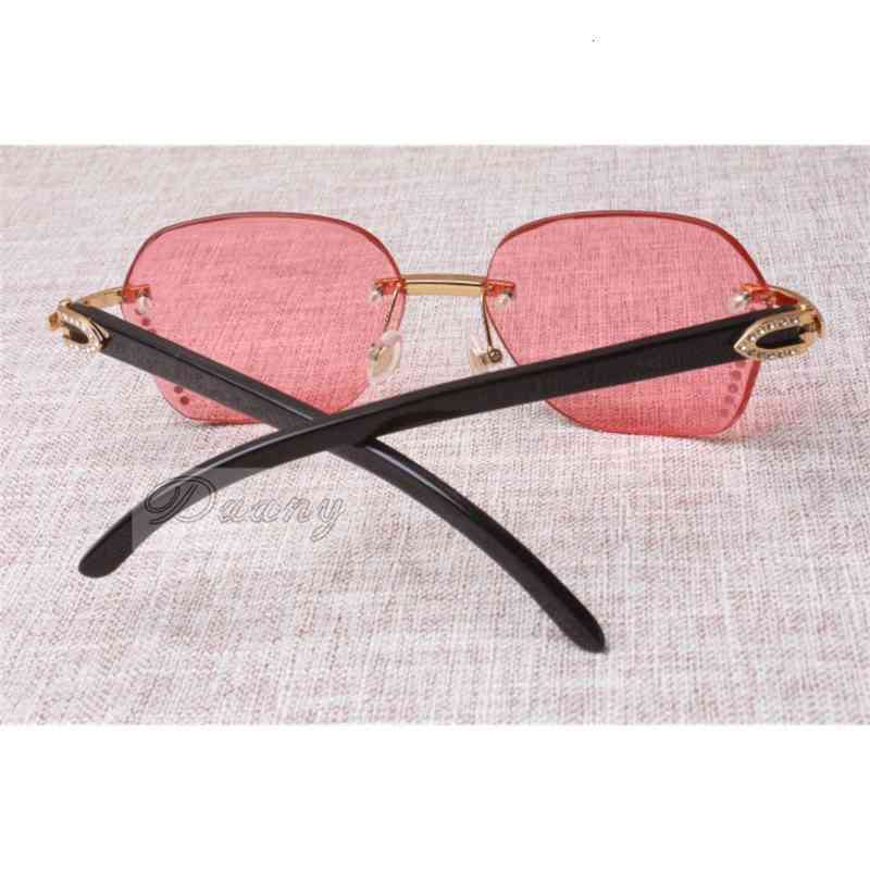 2019 New style high quality trendy Diamond black Cattle Horn Sunglasses 8100909 Silver brown lens for male and female, size:60-18-140mm