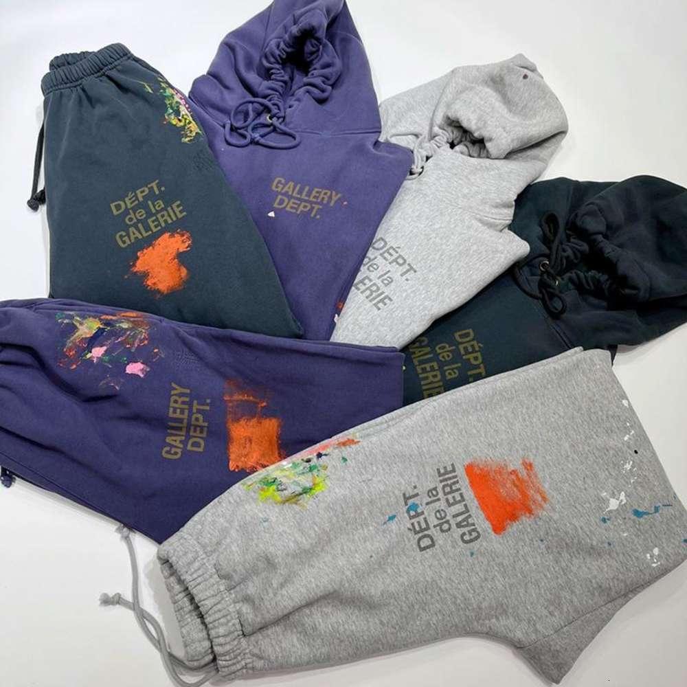 . French Painted Hoodie & Sweat Pants Mens Hooded Sweatshirts Oversize Fleeced Vintage Paint Hoodie & Pants Streetwear