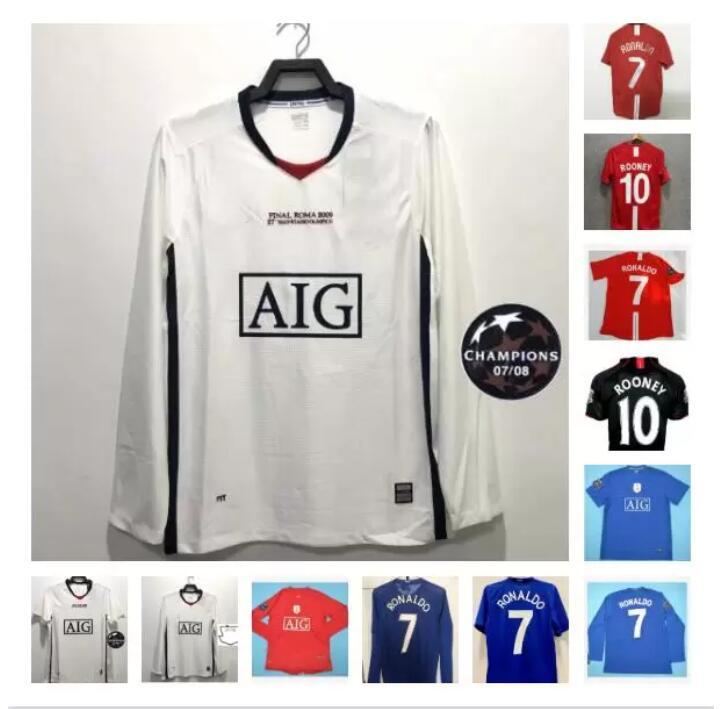 Long sleeve 2007 2008 2009 Manchester Ronaldo retro soccer jerseys uNiTeD Rooney Giggs Nani MAN 07 08 09 Scholes Tevez BERBATOV VIDIC uTd Football Shirts