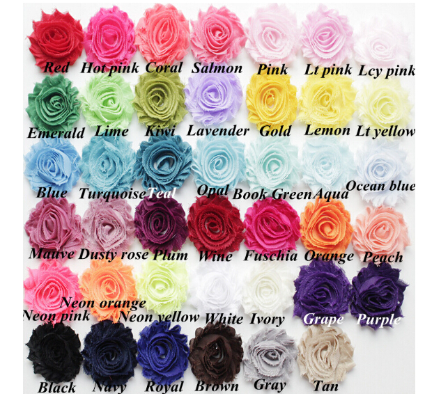 2.5 Royal Blue Chiffon Shabby Rose Flower Trim-Headband Supplies-DIY Supplies