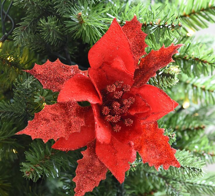Glitter Hollow Out Leaves Branch Christmas Tree Xmas Party Festival Home Decor