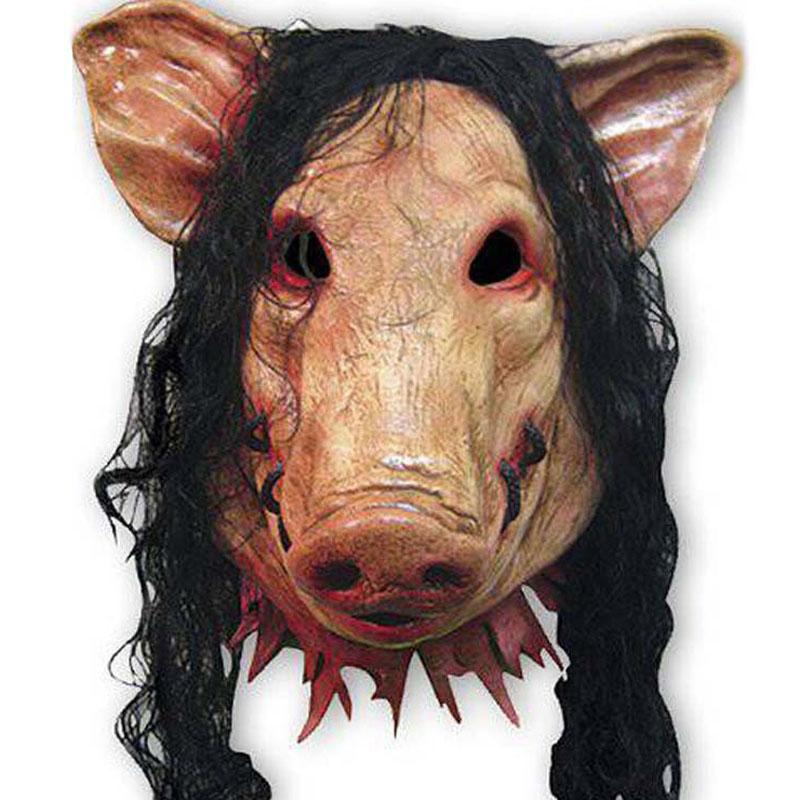 BOAR PUNK PIG LATEX HEAD MASK WITH FUR
