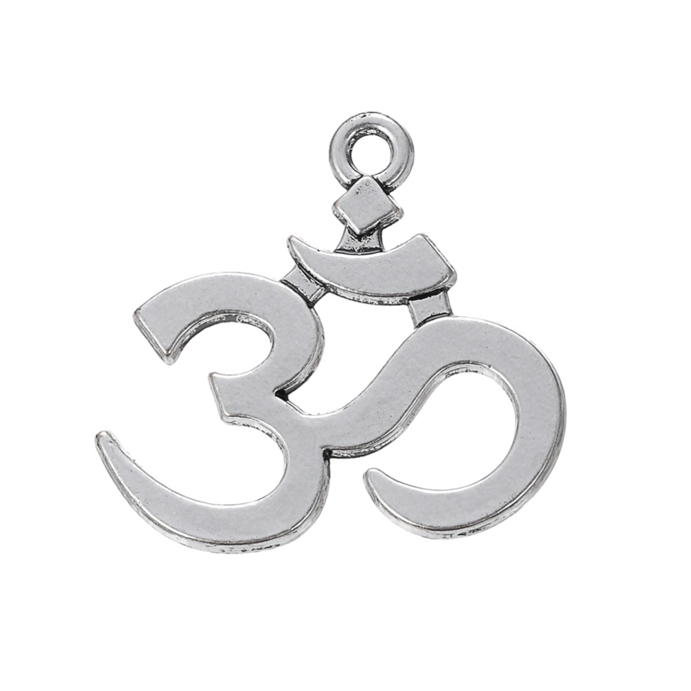 100 x Om Yoga Hollow Pendant Tibetan Silver Charms Pendants Jewelry Making