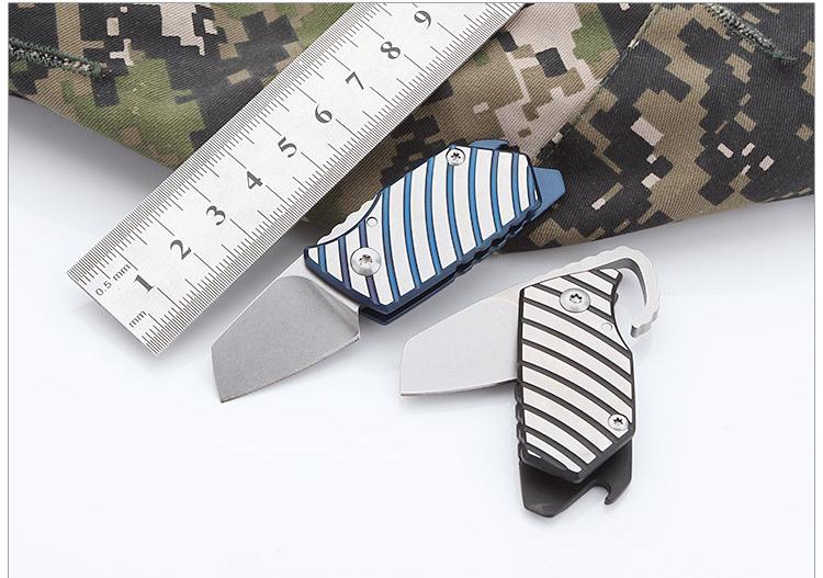2 colors Mini Key Tactical folding knife D2 blade titanium handle Ball bearing hunting camping Survival tools pocket knife xmas gift knife