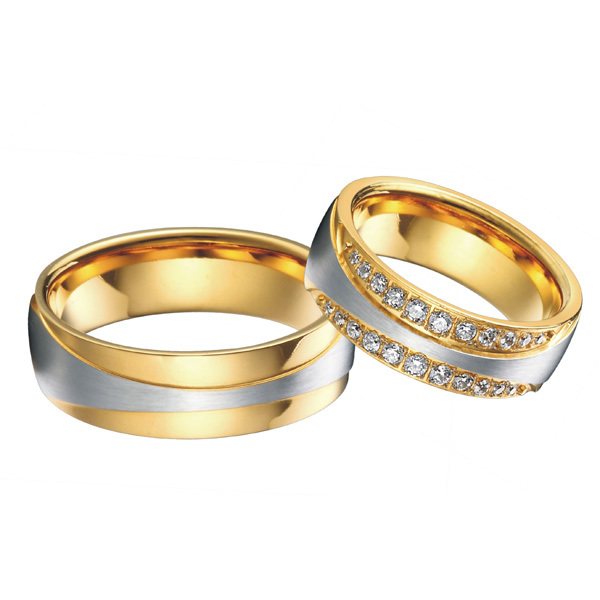 0742f91686 Wholesale-luxury 18k gold plated titanium jewelry engagement wedding bands  promise eternity rings sets for men and women alliances anel