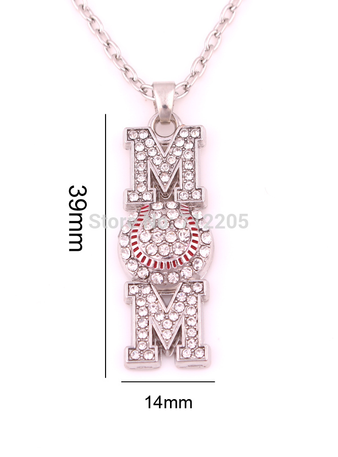 Baseball Softball Mom Pave Crystal Pendant With Wheat Link Chain Necklace Mothers day gift