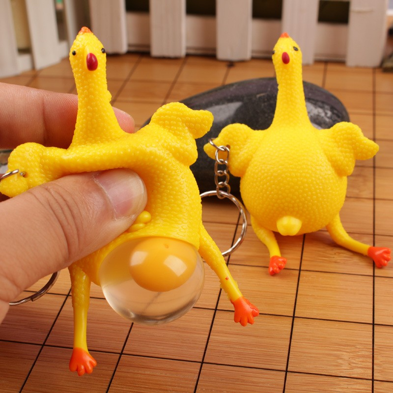 New Novelty Spoof Tricky Funny Gadgets Toys Chicken Whole Egg Laying Hens Crowded Stress Ball Keychain Keyring Relief Gift