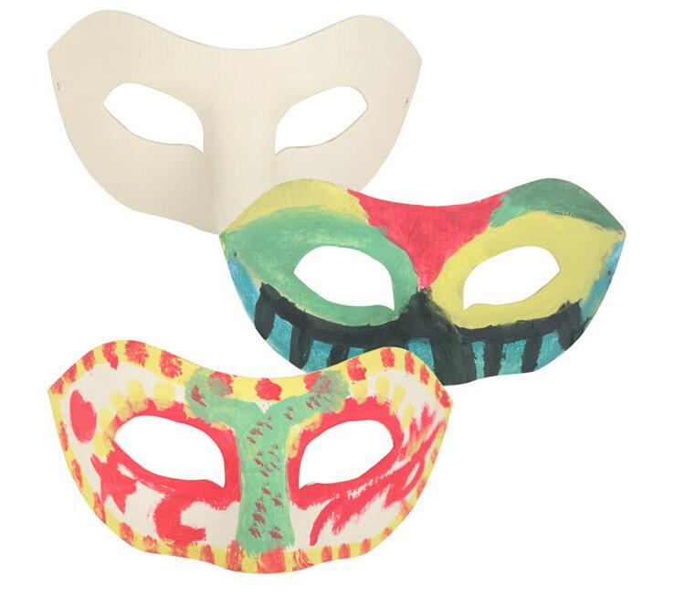 White Half Face Mask Halloween blank paper Zorro Mask DIY Hip-Hop mask Hand-painted masks street dancing