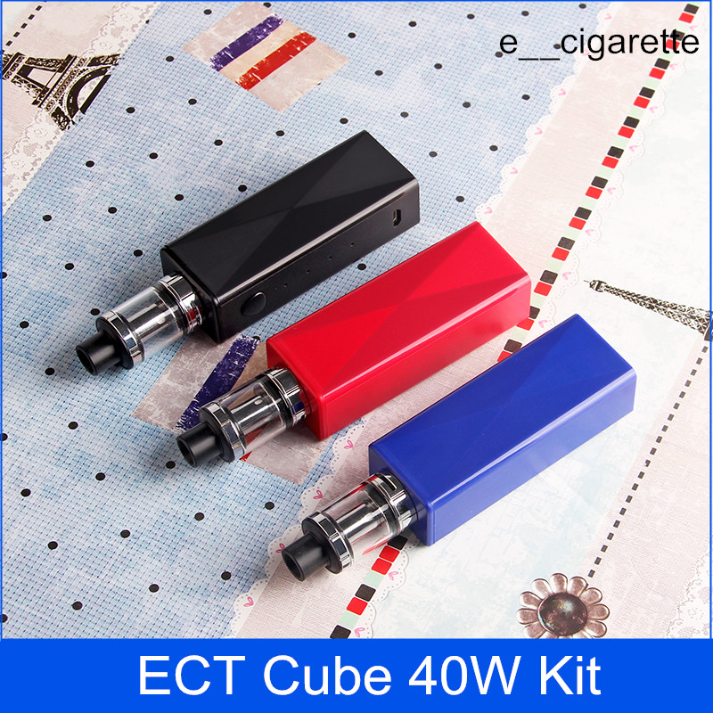 DHgate coupon: ECT Cube 40W kit Authentic box mod e cigarette Elfin build in battery 2200mah 0.3ohm vape mod electronic cigarette vaporizer