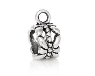 100 Packs Hollow Bail Hanger Dangle Spacer Beads Fitting European Bracelet