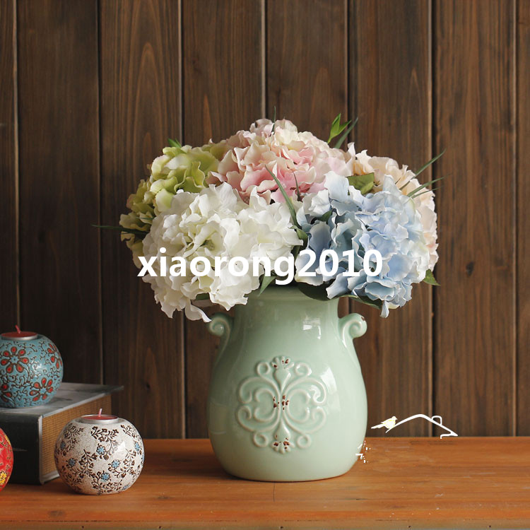 European Silk Hydrangea Flowers Artificial Single Hydrangeas for Wedding Party Festival Home Decorative Flowers