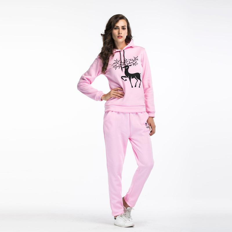 2017 Women Tracksuits Designer 2 Piece Sweatshirt+Pant Sets Thick Warm Deer Print Suit Casual Long Sleeve Sweatsuit Jumpsuits Women Clothing