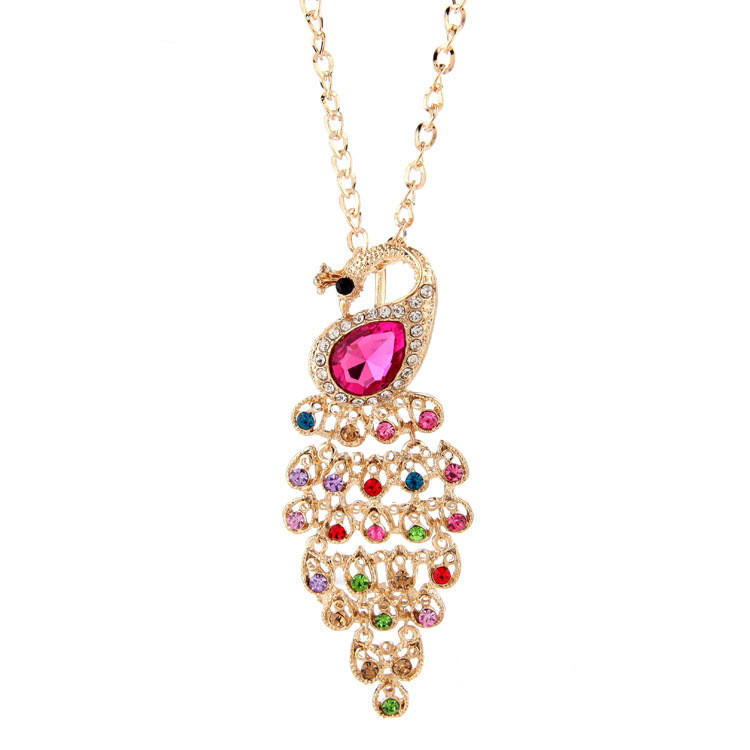 Womens Statement Long ORANGE Beaded Crystal PEACOCK Chain Pendant Necklace