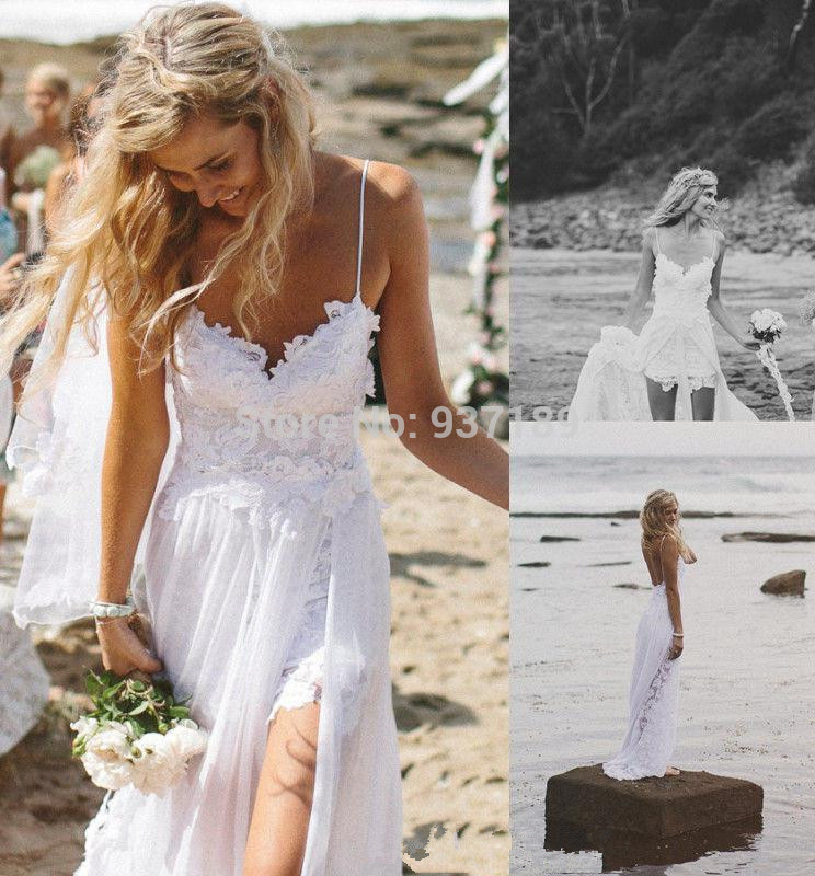 Wholesale Stunning Vintage Boho White Beach Low Back Wedding Dresses Gowns Chiffon Dreamy Spaghtti Straps Slit Short Lace In Front