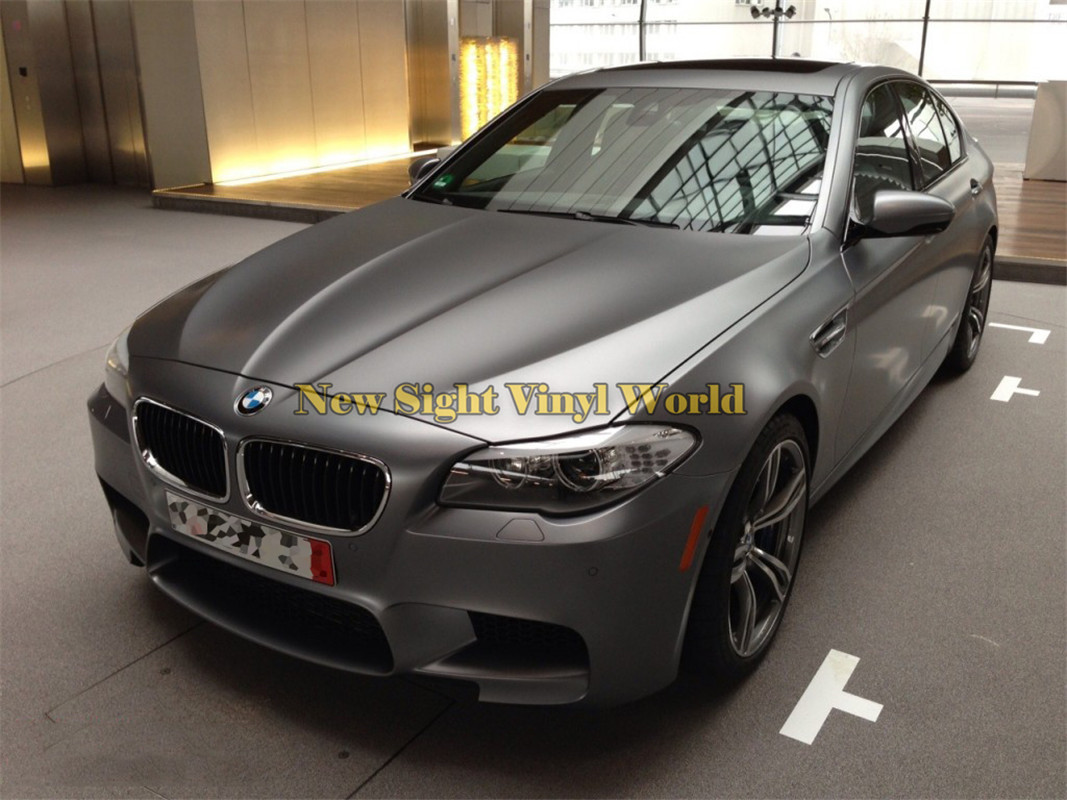 *Premium Gray Satin Chrome Matte Metallic Car Vinyl Wrap Sticker Air Release