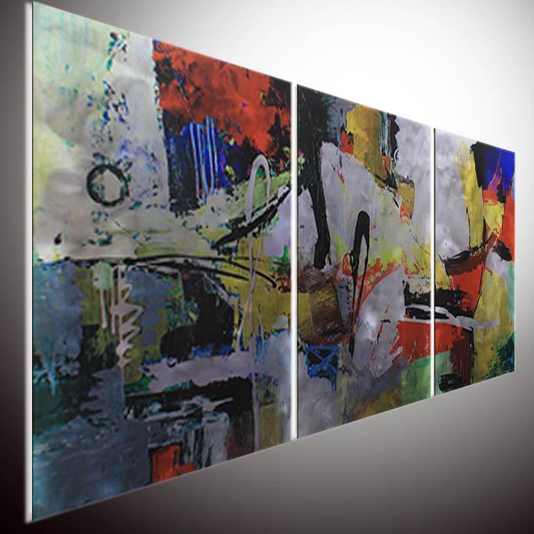 Decoraci/ón XXL metal arte Extravagante escultura de pared de metal KunstLoft/® Fight for Victory 59x122x3,5cm Anillos abstractos en rojo cuadro hecho a mano imagen mural de arte moderno