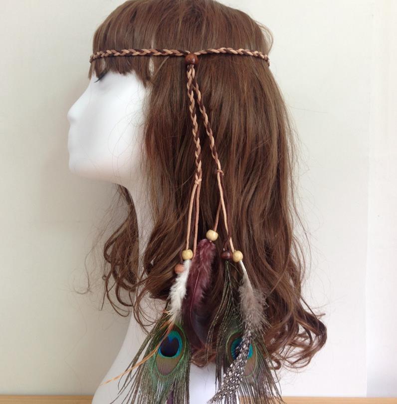 Pfau Feder Stirnband Haarband Seil gestrickt Haarband Boho einstellbar