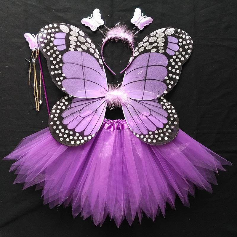 Coshome Children Butterfly Cosplay Princess Costumes Baby Boys Girls Kids Stage Performance Wings+Skirt+Headdress+Wands 4pcsSet (6)