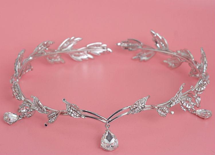 Vintage Crystal Bridal Hair Accessory Wedding Rhinestone Waterdrop Leaf Tiara Crown Headband Frontlet Bridesmaid Hair Jewelry (1)