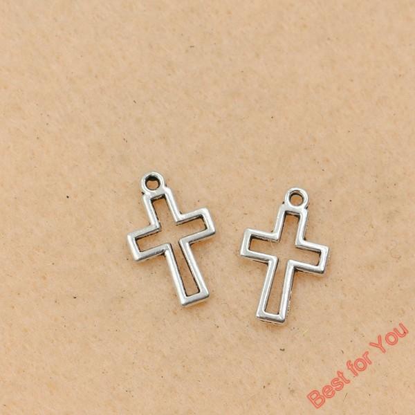 Free Ship 100Pcs Tibetan Silver Cross Charms Pendants Fit Bracelet 21x11mm