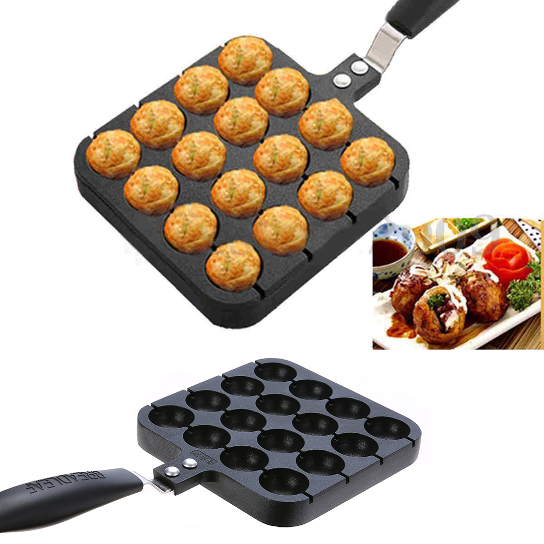 2017 16 Holes Kitchen Takoyaki Grill Pan Plate Mayitr Cooking Baking Mold Octopus Ball Maker With Handle Kitchen Tools