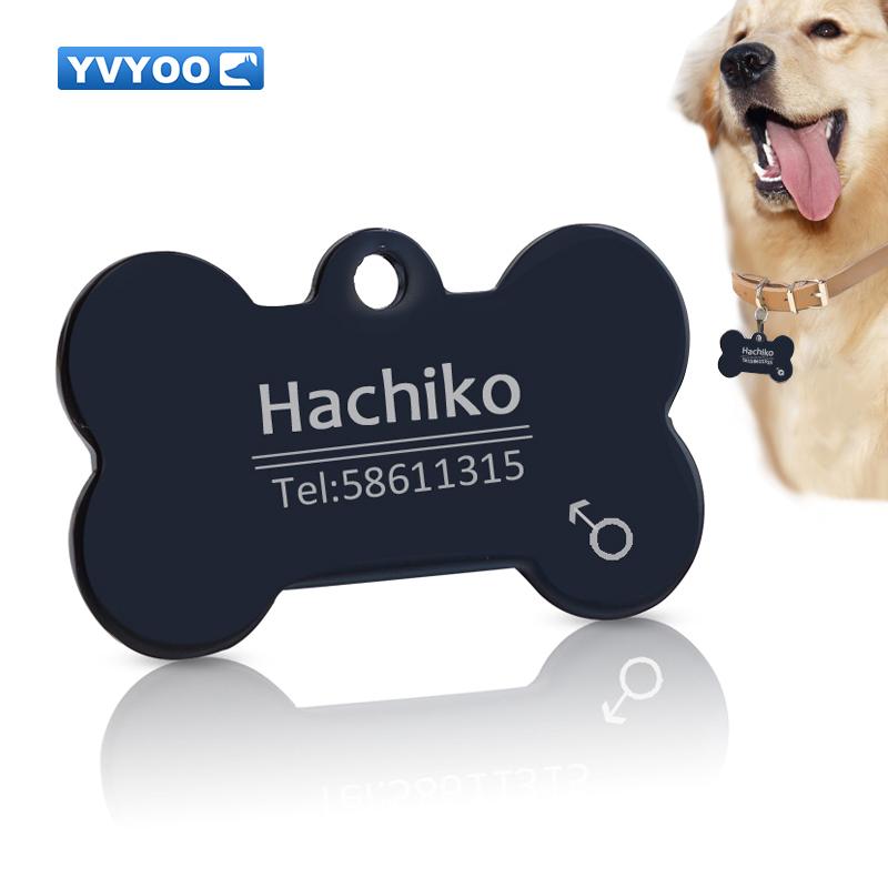 Personalizado Grabado Brillo Dog Bone Tag Perro Gato Reflectante etiquetas de identificación del animal doméstico
