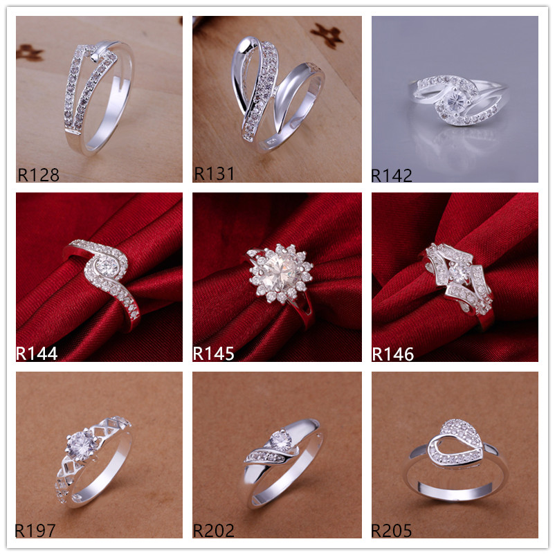 Women's gemstone plated sterling silver ring a mixed style EMR15,hot sale high grade fashion 925 silver plate ring
