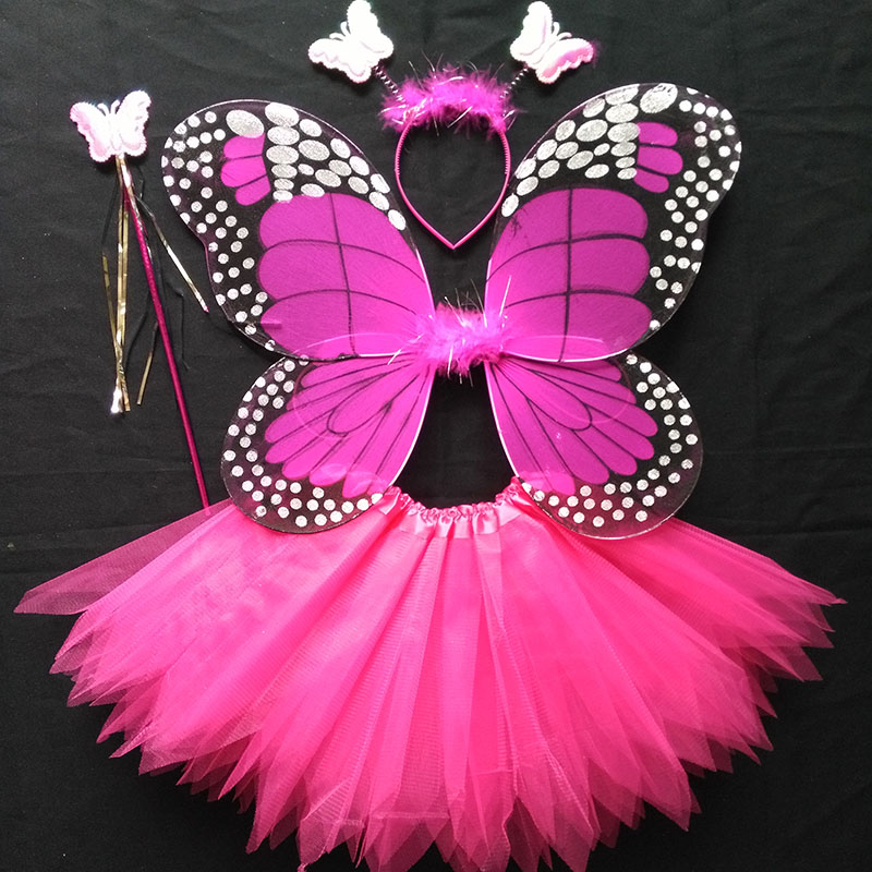 Coshome Children Butterfly Cosplay Princess Costumes Baby Boys Girls Kids Stage Performance Wings+Skirt+Headdress+Wands 4pcsSet (5)