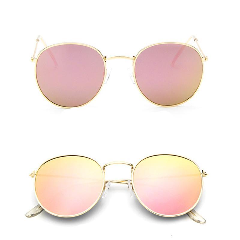 Men Women Luxury Brand Designer Sunglasses With Gold Flash Glass Lens For Bans Mirror Round Metal Unisex UV400 High Quality Sun Glasses