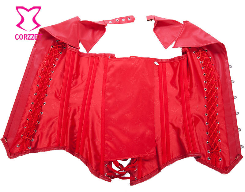 5dfa43762c3 Wholesale-Red Faux Leather Halter Top Overbust Gothic Steampunk Corset 6XL Plus  Size Corpetes E Espartilhos Steel Boned Corsets For Women