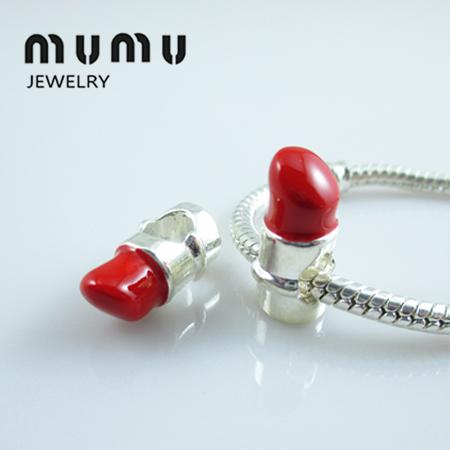 Lipstick Pink Red Enamel Makeup Girl 3D Dangle Charm for European Bead Bracelets Fashion Jewelry for Women Man