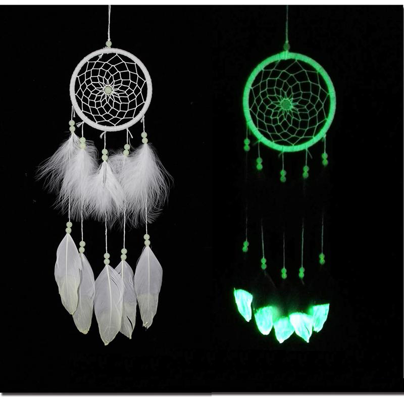 DHgate coupon: India Fluorescence Dreamcatcher with Feathers Noctilucous Wind Chimes & Hanging Pendant Dream Catcher Fashion Wedding Christmas Gift